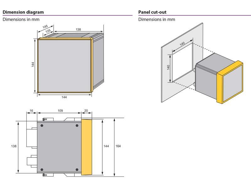ابعاد مدیریت انرژی و کیفیت توان BENDER PEM735