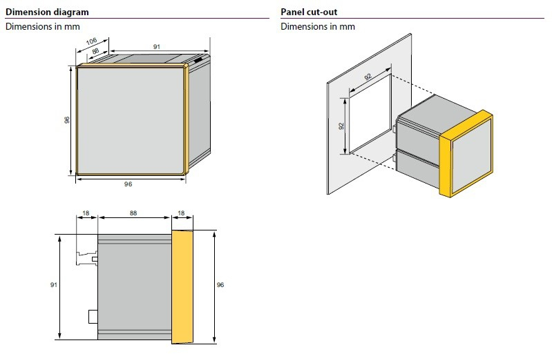 ابعاد مدیریت انرژی و کیفیت توان PEM575 BENDER