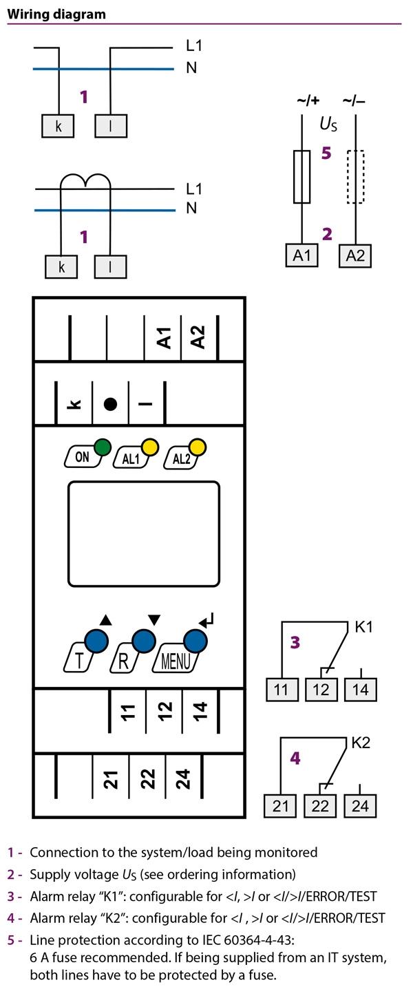 سیم کشی رله جریانی صنعتی تکفاز BENDER