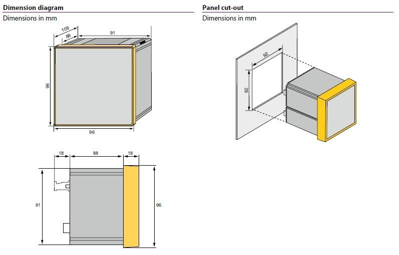 ابعاد مدیریت انرژی و کیفیت توان PEM555 BENDER